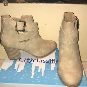 City classified beige cream strap booties